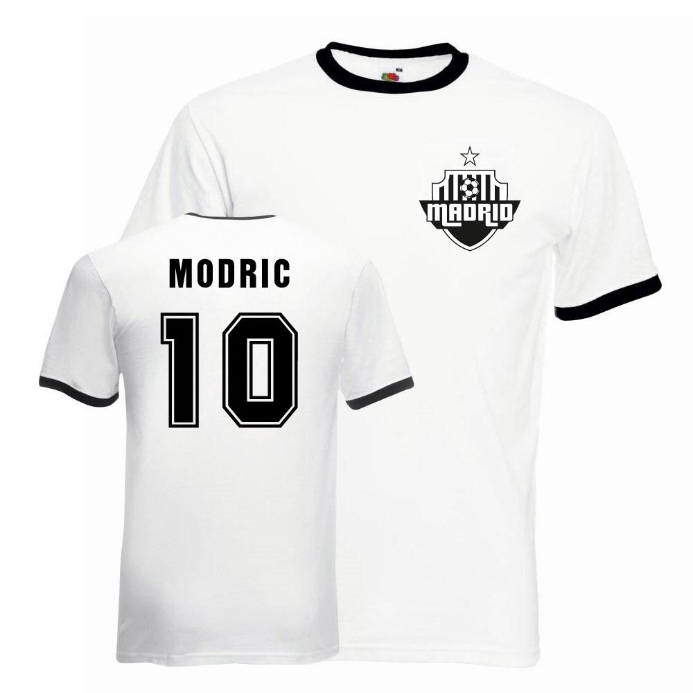 newest 79ee0 93920 Luka Modric Real Madrid Ringer Tee (white-black)