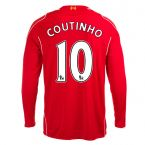 Liverpool 14-15 Long Sleeve Home Shirt (Coutinho 10) - Kids