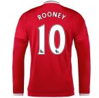 2015-2016 Man Utd Long Sleeve Home Shirt (Rooney 10)