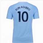 2017-18 Man City Home Shirt - Kids (Kun Aguero 10)