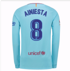 2017-2018 Barcelona Away Long Sleeve Shirt (A Iniesta 8)