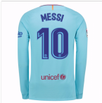 2017-2018 Barcelona Away Long Sleeve Shirt (Messi 10)