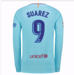 2017-2018 Barcelona Away Long Sleeve Shirt (Suarez 9)