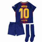 2017-2018 Barcelona Home Nike Little Boys Mini Kit (With Sponsor) (Messi 10)