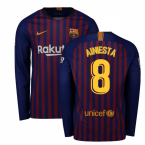 2018-2019 Barcelona Home Nike Long Sleeve Shirt (A.Iniesta 8)