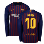 2018-2019 Barcelona Home Nike Long Sleeve Shirt (Messi 10)