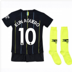 2018-2019 Man City Away Nike Little Boys Mini Kit (Kun Aguero 10)