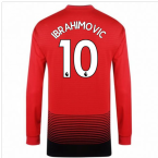 2018-2019 Man Utd Adidas Home Long Sleeve Shirt (Ibrahimovic 10) - Kids