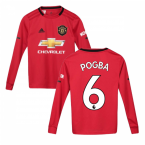 2019-2020 Man Utd Adidas Home Long Sleeve Shirt (Kids) (POGBA 6)
