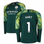 2019-2020 Manchester City Puma Home LS Goalkeeper Shirt (Green) (HART 1)
