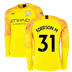2019-2020 Manchester City Puma Third LS Goalkeeper Shirt (Yellow) (EDERSON M 31)