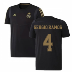 2019-2020 Real Madrid Adidas Training Tee (Black) - Kids (SERGIO RAMOS 4)