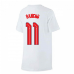 2020-2021 England Nike Evergreen Crest Tee (White) - Kids (Sancho 11)
