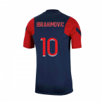 2020-2021 PSG Nike Strike Training Shirt (Navy) (IBRAHIMOVIC 10)