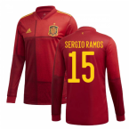 2020-2021 Spain Home Adidas Long Sleeve Shirt (SERGIO RAMOS 15)