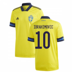 2020-2021 Sweden Home Adidas Football Shirt (IBRAHIMOVIC 10)
