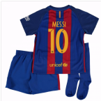 2016-17 Barcelona Home Little Boys Mini Kit (With Sponsor) (Messi 10)
