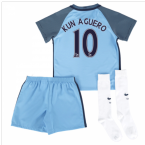 2016-17 Man City Home Mini Kit (Kun Aguero 10)