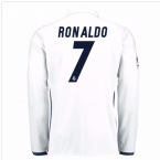 2016-17 Real Madrid Home Shirt Long Sleeve (Ronaldo 7) - Kids