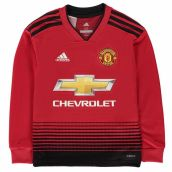 Man Utd 2018-2019 Home Long Sleeve Shirt (Kids)