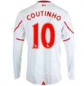 2015-2016 Liverpool Long Sleeve Away Shirt (Coutinho 10) - Kids