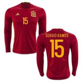 Spain 2016-2017 Long Sleeve Home Shirt (Sergio Ramos15)