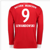 2017-18 Bayern Munich Home Long Sleeve Shirt (Kids) (Lewandowski 9)