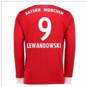 2017-18 Bayern Munich Home Long Sleeve Shirt (Lewandowski 9)