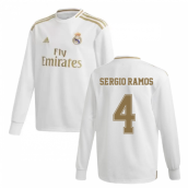 2019-2020 Real Madrid Adidas Home Long Sleeve Shirt (Kids) (SERGIO RAMOS 4)