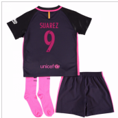 2016-17 Barcelona Away Little Boys Mini Kit (With Sponsor) (Suarez 9)