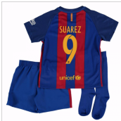 2016-17 Barcelona Home Little Boys Mini Kit (With Sponsor) (Suarez 9)