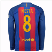 2016-17 Barcelona Home Long Sleeve Shirt (Iniesta 8)