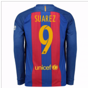 2016-17 Barcelona Home Long Sleeve Shirt (Suarez 9)