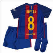 2016-17 Barcelona Home Mini Kit Shirt (Iniesta 8)