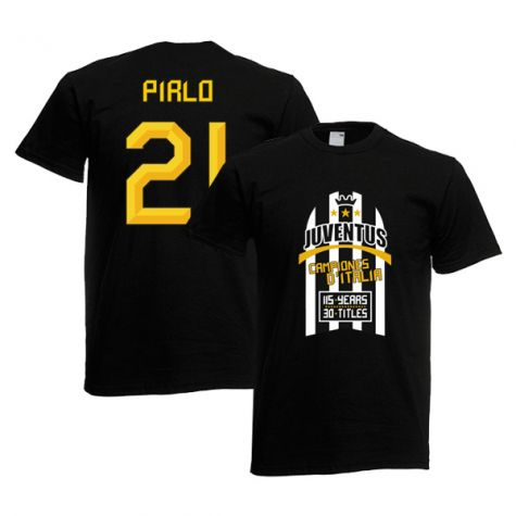 huge discount a8f86 025f1 2012 Juventus Champions T-Shirt (Black) - Pirlo 21