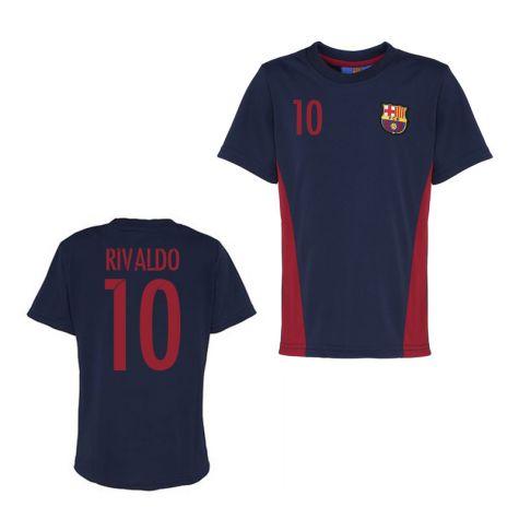 sports shoes 31e74 b8d8c Official Barcelona Training T-Shirt (Navy) (Rivaldo 10)