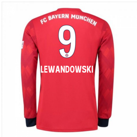 sports shoes 02a4b 78aeb 2018-2019 Bayern Munich Adidas Home Long Sleeve Shirt (Lewandowski 9)