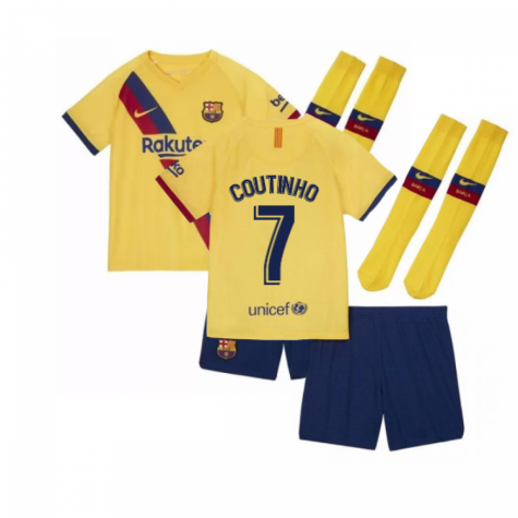 2019-2020 Barcelona Away Nike Little Boys Mini Kit (COUTINHO 7)