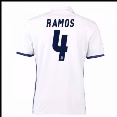 sale retailer 72a79 13cfb 2016-17 Real Madrid Home Shirt (Ramos 4) - Kids